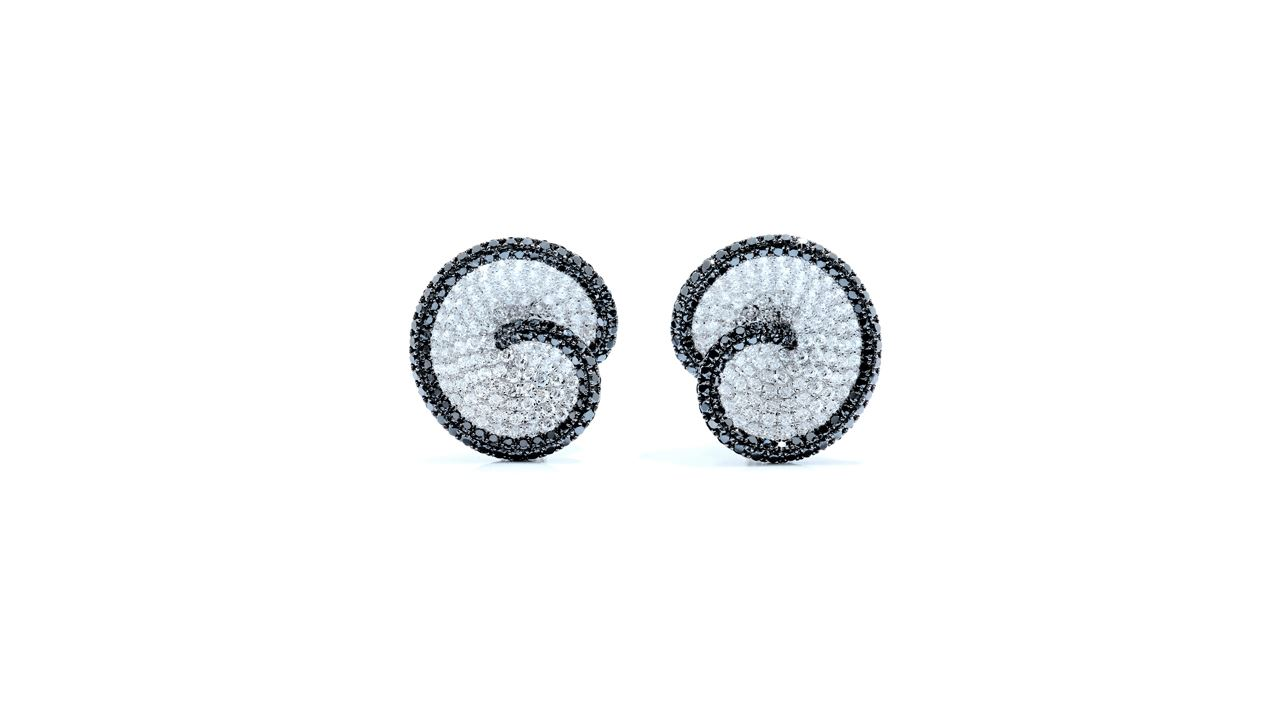 j6288 - White, Black Diamond Swirl Earrings at Ascot Diamonds