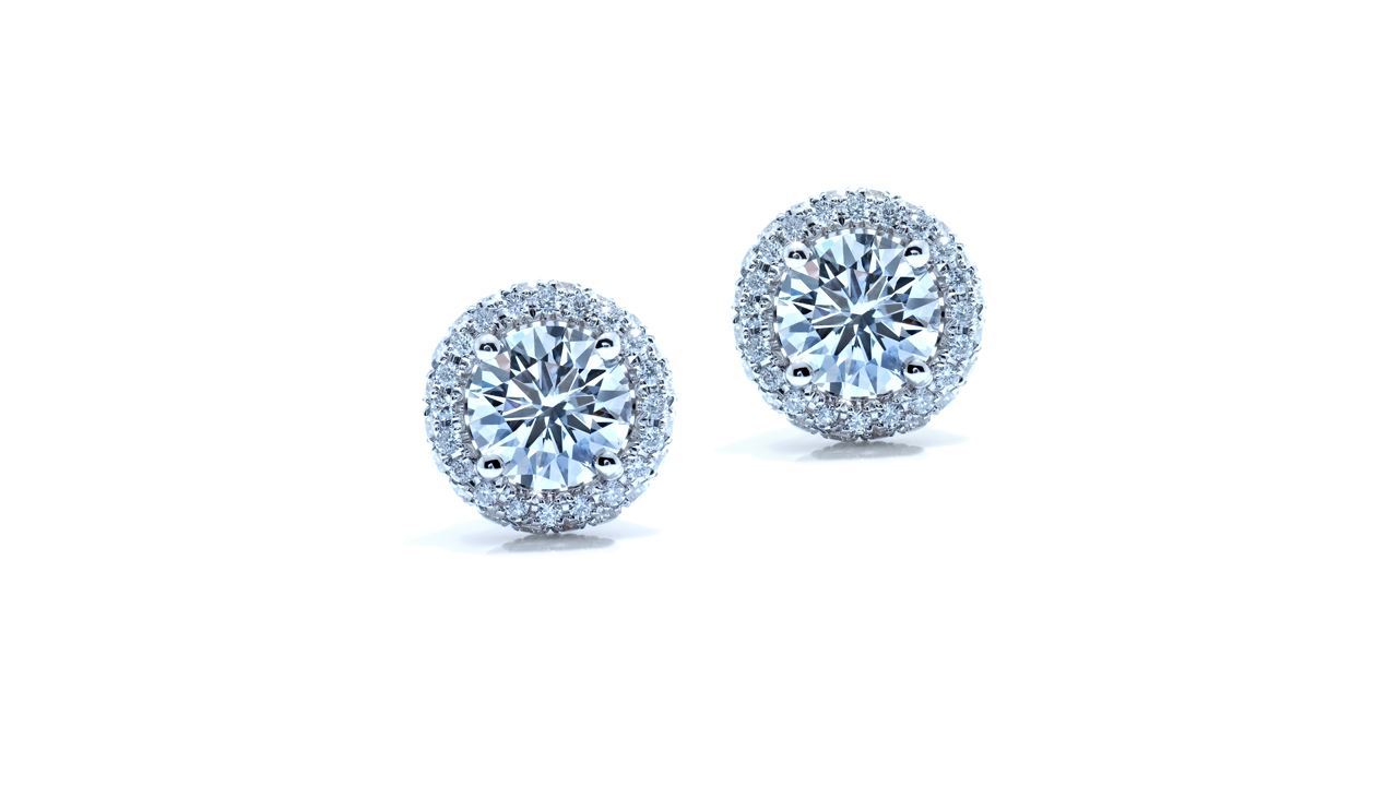 ja1383 - 0.95 ct round diamond earrings Pave set at Ascot Diamonds