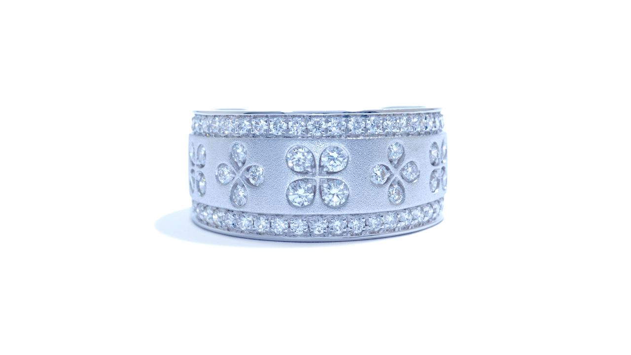 ja1950 - Floral Wide Diamond Band 1.10 ct. tw. (in 18k white gold)  at Ascot Diamonds