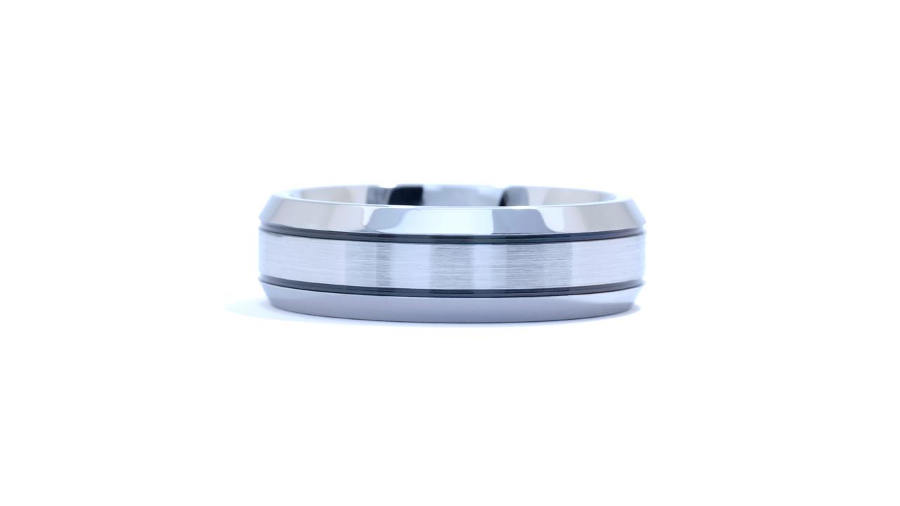 ja3694 - Men's Cobalt Blackened Stripes Wedding Ring at Ascot Diamonds
