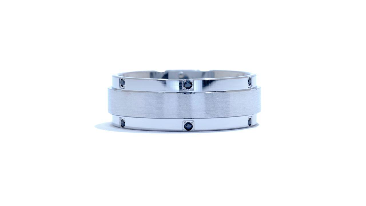 ja5339 - Men's Black Diamond Satin Wedding Ring at Ascot Diamonds