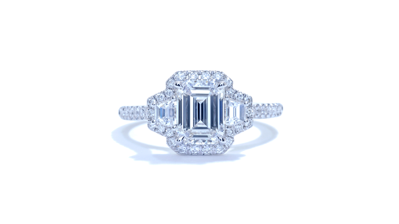 ja5358_d6401 - Emerald Cut Halo Diamond Ring at Ascot Diamonds