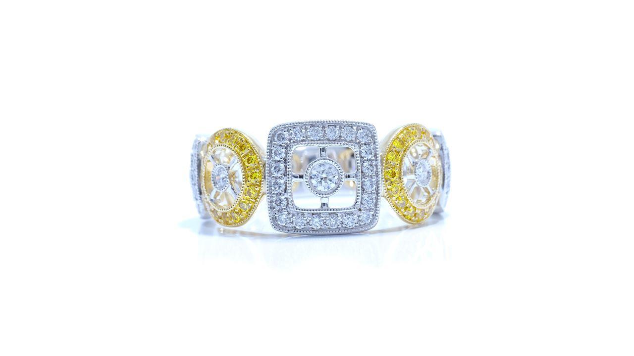 ja5789 - Art-Deco White and Yellow Diamond Band  at Ascot Diamonds