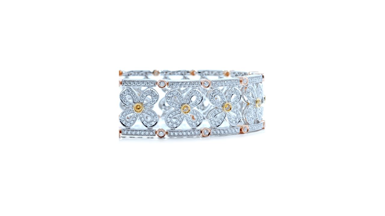 ja6748 - Floral Design Wide Diamond Bracelet at Ascot Diamonds