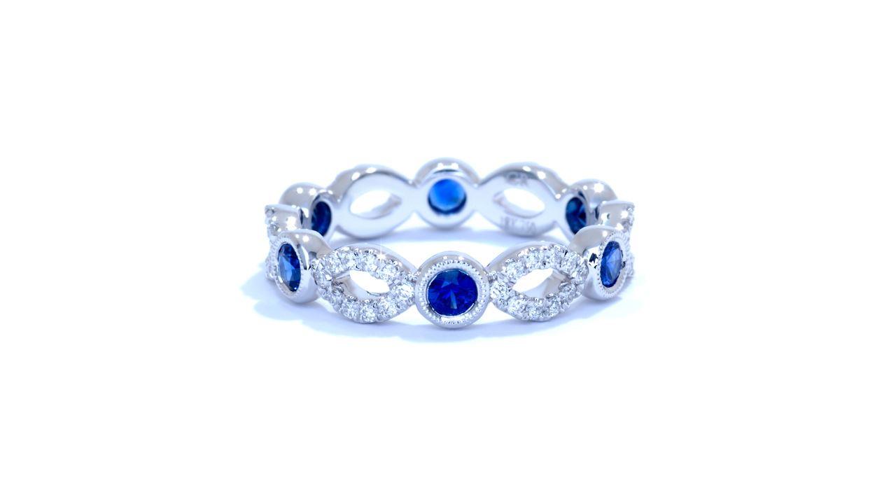 ja7003 - 0.90 ctw. Diamond and Blue Sapphire Band at Ascot Diamonds