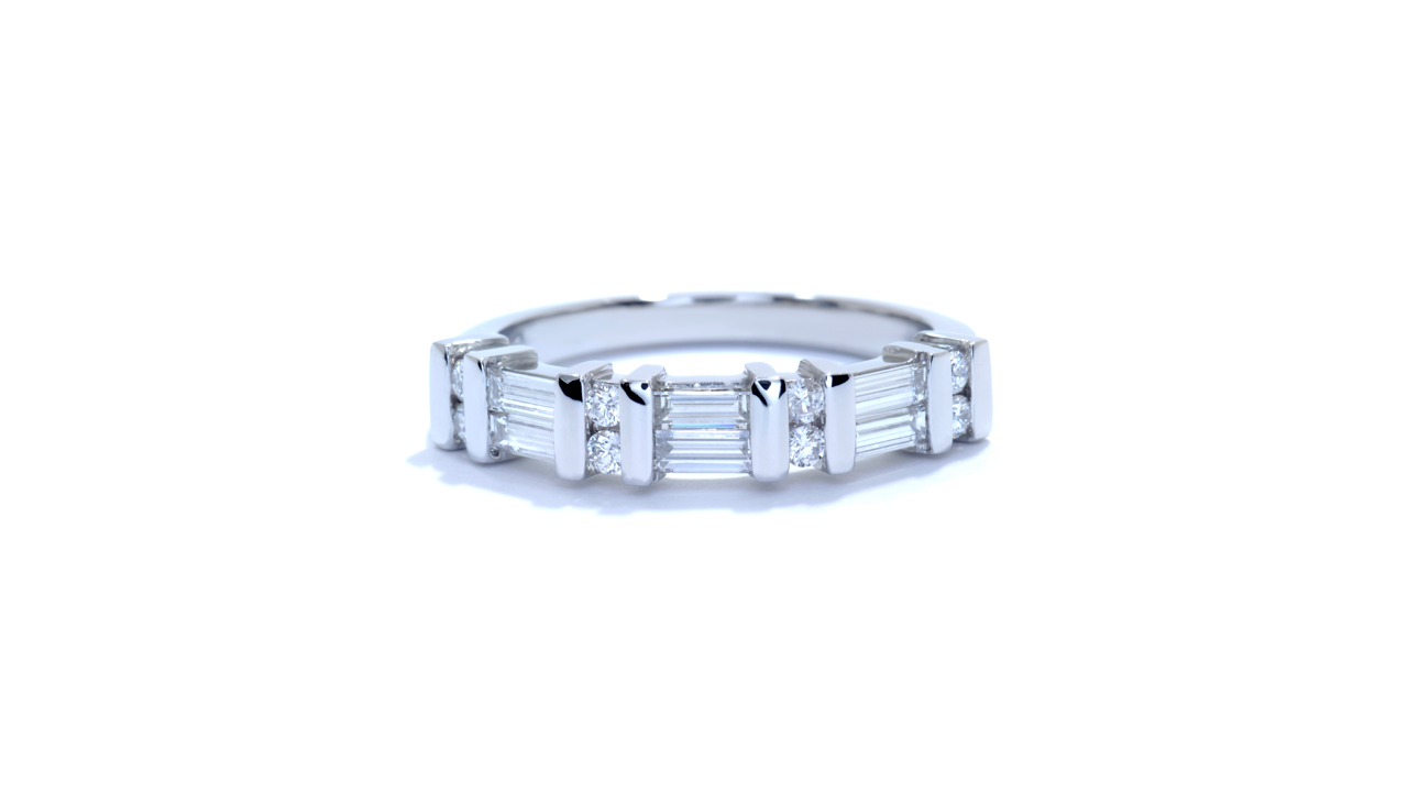 ja7022 - Baguette Diamond and Round Diamond Band at Ascot Diamonds