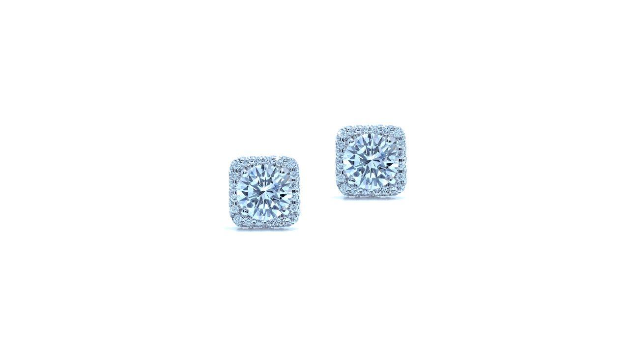 ja7874 - Cushion Shaped Halo Diamond Earrings  at Ascot Diamonds