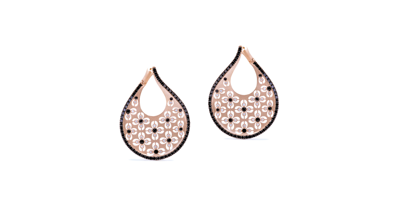 ja8933 - Catherine Ryder© Rose Gold Floral Earrings at Ascot Diamonds