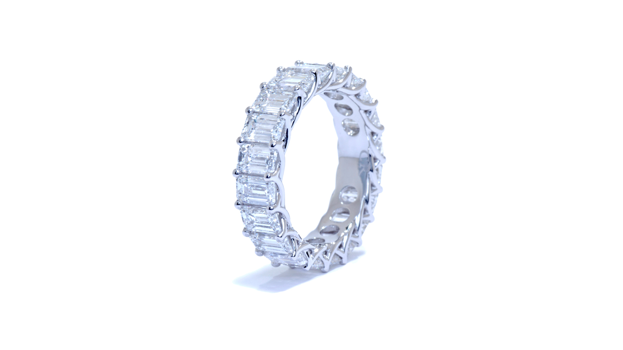 ja8979 - Emerald Cut Diamond Eternity Band 6.56 ct at Ascot Diamonds