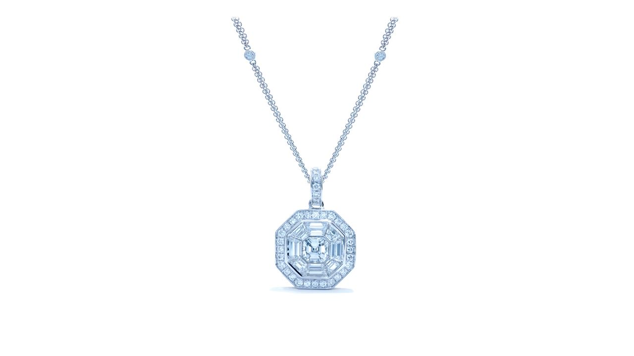 ja9362 - Vintage Micropave Diamond and Baguette Pendant 1.25 ct. tw. (in 18k white gold) at Ascot Diamonds