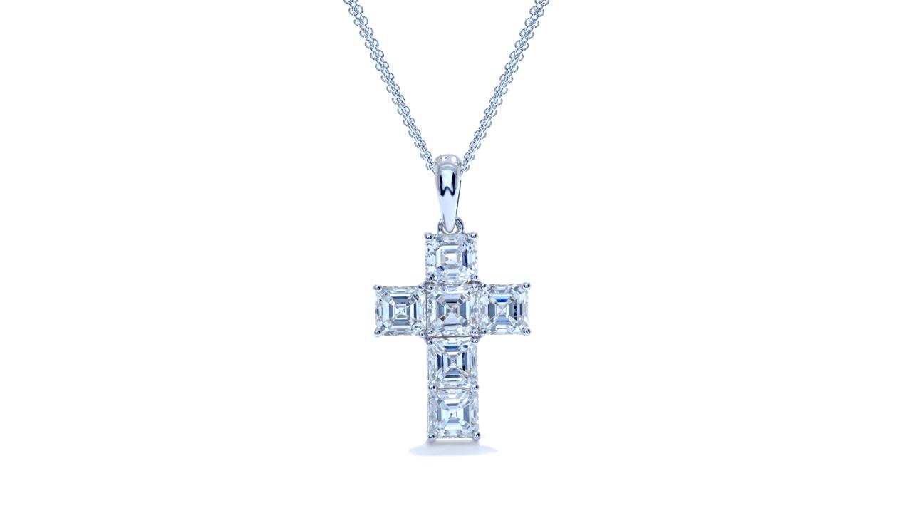 ja9813 - Asscher Cut Diamond Pendant at Ascot Diamonds