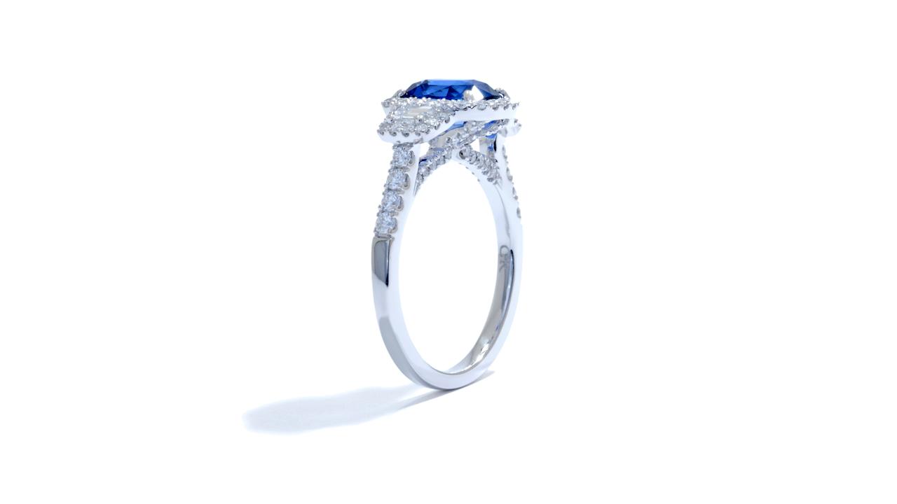 jb1633_bsap1002 - 1.78ct Cushion Cut Sapphire Engagement Ring at Ascot Diamonds