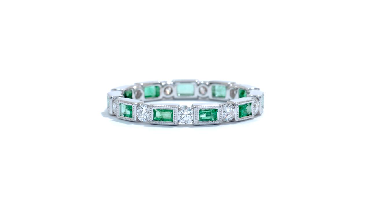 jb3441 - Green Emerald and Diamond Eternity Band at Ascot Diamonds