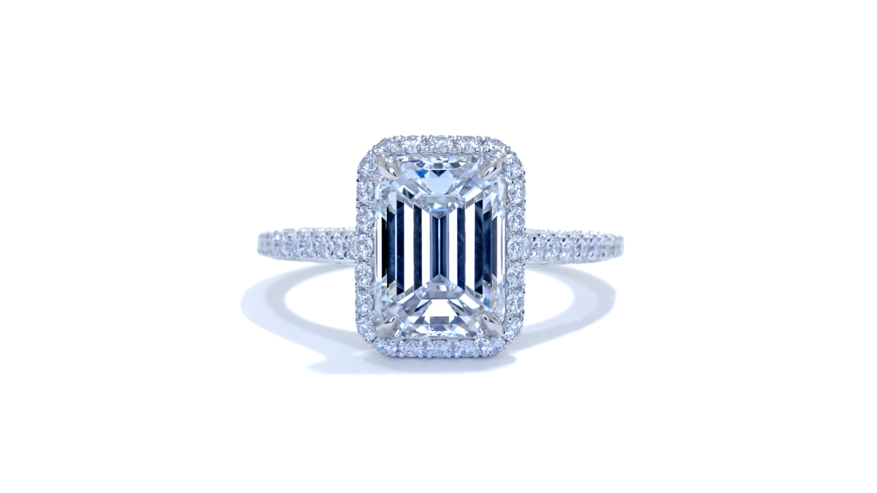 jb3710_lgd1392 - Emerald Cut Vintage Style Engagement Ring at Ascot Diamonds