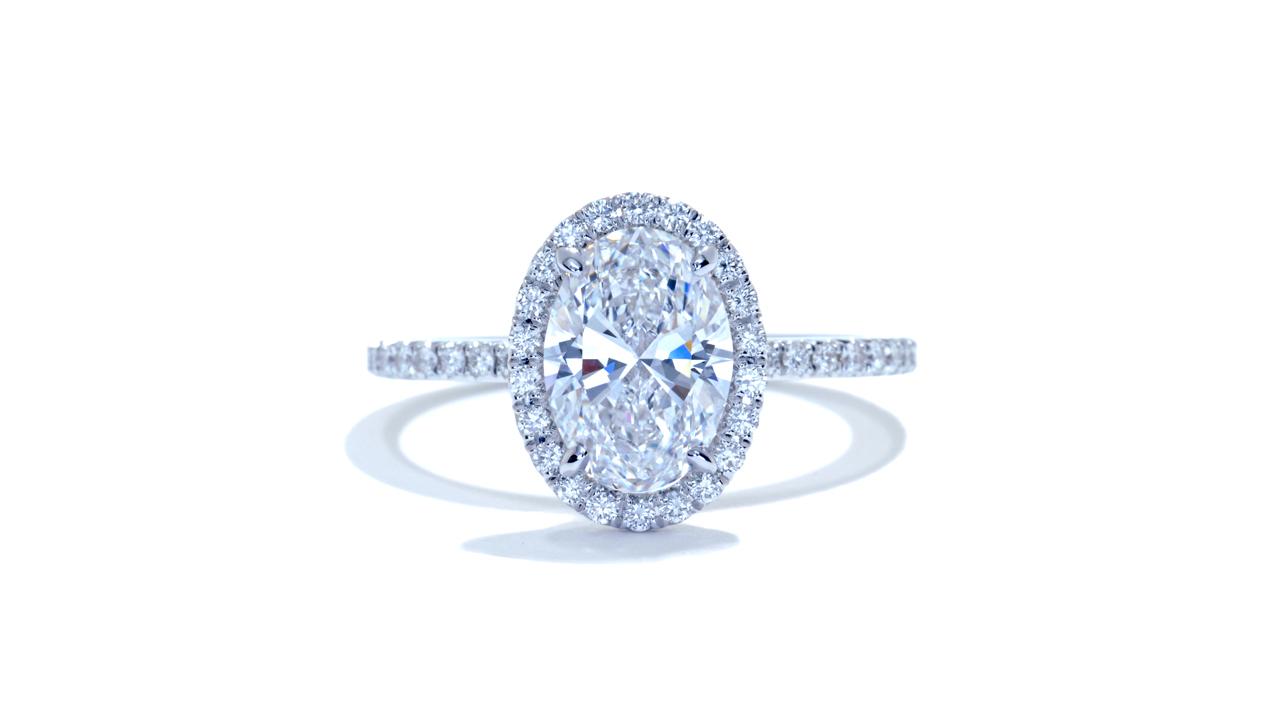 jb3807_lgd1613 - 1.61ct Oval Halo Diamond Engagement Ring at Ascot Diamonds