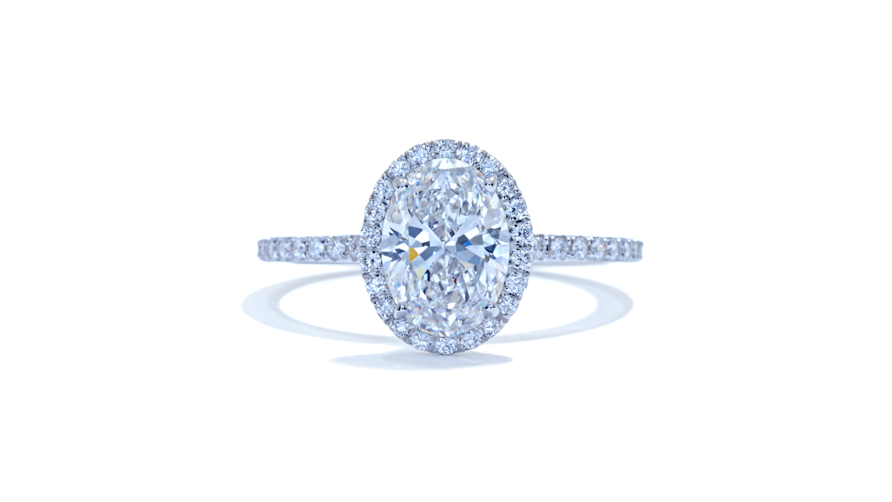 jb4267_lgd1184 - 1.20ct Oval Halo Diamond Engagement Ring at Ascot Diamonds